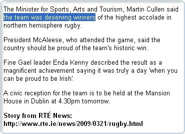 Stan Carey - nouns of multitude in RTE rugby story