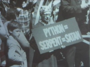 Stan Carey - screenshot of protest sign 2 in The Story of Brian documentary