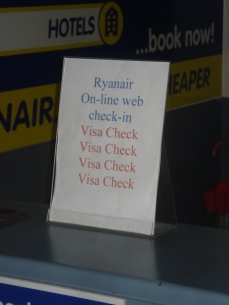 Ryanair visa check at Shannon Airport