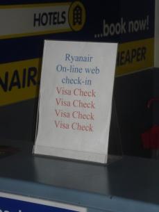 Ryanair visa check at Shannon Airport