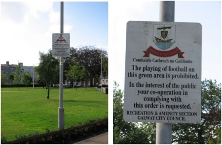 "Stan Carey - Galway City Council sign on ""the playing of football"""