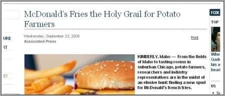 Stan Carey - crash blossoms - McDonald's Fries the Holy Grail for Potato Farmers