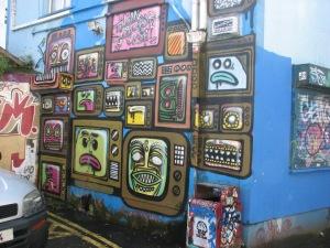 Stan Carey - Galway street art - TVs