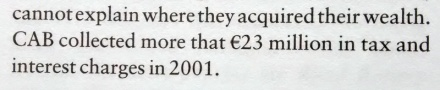 """CAB [Criminal Assets Bureau] collected more that [sic] €23 million in tax and interest charges in 2001."""