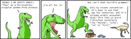 xkcd parody of Dinosaur Comics singular they cartoon