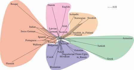 NeighbourNet of European folktale populations
