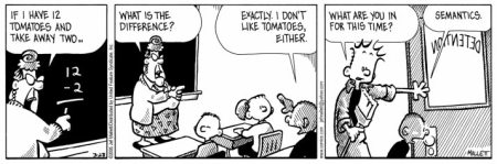 Jef Mallett - Frazz comic strip - detention for tomato semantics