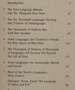 John McWhorter - Power of Babel - chapter titles