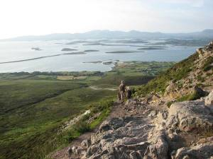 stan carey - croagh patrick mountain climb - descent with view of clew bay