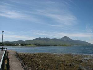 stan carey - croagh patrick mountain climb - view of mountain across water from westport town