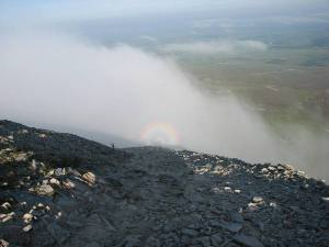 stan carey - croagh patrick mountain climb 6 - scree and circular rainbow aka Brocken spectre near summit of mountain