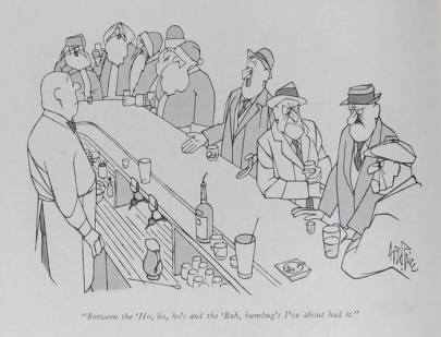 New Yorker cartoon 1 - George Price - Between the ho ho hos and the bah humbugs