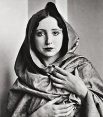Anais Nin portrait photo in hood