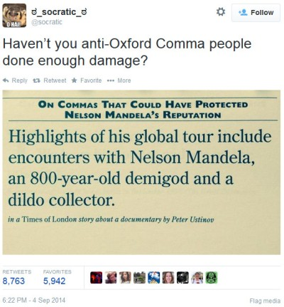 @socratic tweet - oxford comma on mandela, 800-year-old demigod and dildo collector