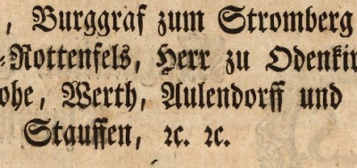 Tironian et in abbreviation 'etc' in German manuscript, 1768