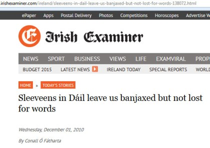 Irish Examiner headline - sleeveens in Dail