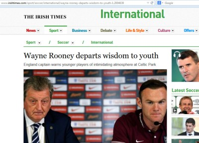 irish times headline typo - Wayne Rooney departs [imparts] wisdom to youth