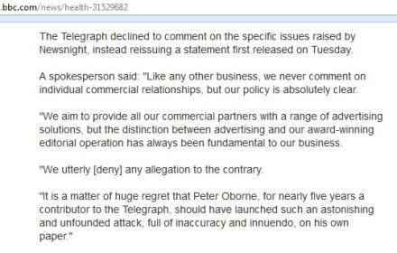 bbc news - telegraph hsbc peter oborne story -refute deny