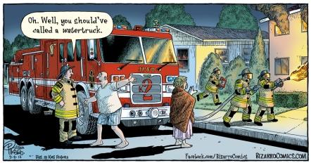 Bizarro Comics by Dan Piraro - water truck fire truck