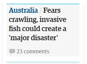 guardian headline crash blossom - fears crawling, invasive fish