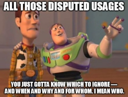 woody and buzz lightyear toy story meme - disputed usages