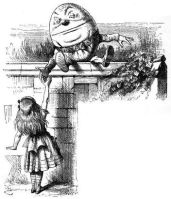 Humpty Dumpty and Alice through the looking-glass portmanteau - John Tenniel