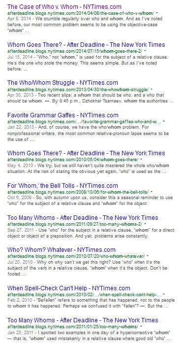 nytimes after deadline who vs whom grammar confusion