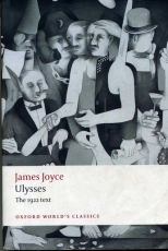"Cover of OUP edition of ""Ulysses"", the 1922 text, with cover illustration by Richard Hamilton featuring black and white figures in quasi-Cubist style"