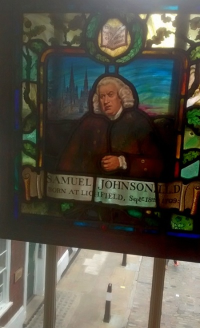 Stained-glass image of Samuel Johnson overlooking the square
