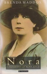 Minerva books cover of Brenda Maddox's biography of Nora Joyce (née Barnacle), featuring Nora in large colour portrait facing the camera with a frank and ambiguous expression