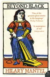 Harper Perennial paperback book cover of Hilary Mantel's novel Beyond Black, featuring a colour illustration of playing-cards queen vacuuming the floor
