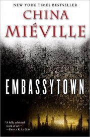 Ballantine Books edition of Embassytown, showing a strange city in distant silhouette and, above it, a dense cloud of drifting letters