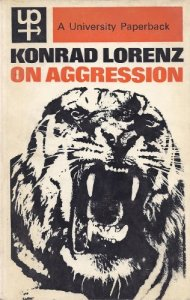 University Paperback book cover on Konrad Lorenz's 'On Aggression', featuring a large b&w illustration of a snarling tiger's head