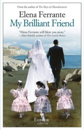 "Europa editions cover of Elena Ferrante's novel ""My Brilliant Friend"", showing a newly married couple from behind, walking towards on grass the sea, followed by three children as bridesmaids"