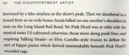 """Image showing a paragraph from Jonathan Lethem's book """"The Disappointment Artist"""". Relevant text is reproduced just below."""