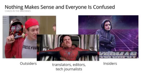 "Image from Brianne Hughes's presentation (video below) with the heading ""Nothing Makes Sense and Everyone Is Confused"". There are 3 photos: Steve Buscemi dressed as a teenager, labelled ""Outsiders""; Rami Malek in Mr Robot, labelled ""Insiders"", and between them, Tobey Maguire in Spider-Man 2, grimacing as he tries to stop a train, labelled ""translators, editors, tech journalists"""