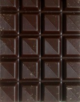 Close-up of a bar of dark chocolate
