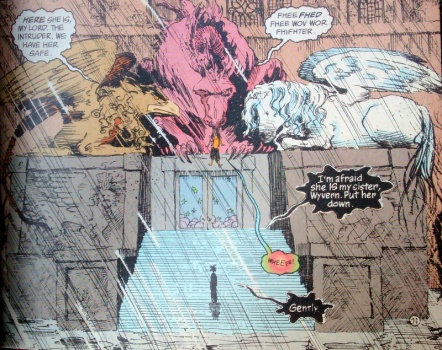 A large comic-book frame shows the Sandman front and bottom, small, facing away, standing on large steps outside a big stone building. Above him are three mythical creatures who guard the entrace. The middle one, a pink dragon, dangles the Sandman's sister, Delirium, from its mouth. The whole scene has muted colours, because it's raining heavily.
