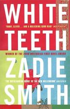 Zadie Smith, White Teeth: book cover of Penguin edition, with large white text on red, light green, and blue background panels.