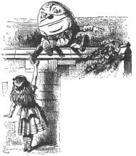 John Tenniel's illustration of Humpty-Dumpty in 'Through the Looking-Glass'. He is reaching down from the wall for the hand of Alice, who is reaching up.