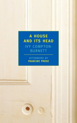 Front cover of 'A House and Its Head', NYRB Classics edition: on a close-up of an off-white door is a blue near-square with the book's title and author's name in yellow and ight blue