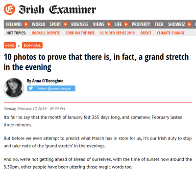 "Irish Examiner screengrab: ""10 photos to prove that there is, in fact, a grand stretch in the evening."""