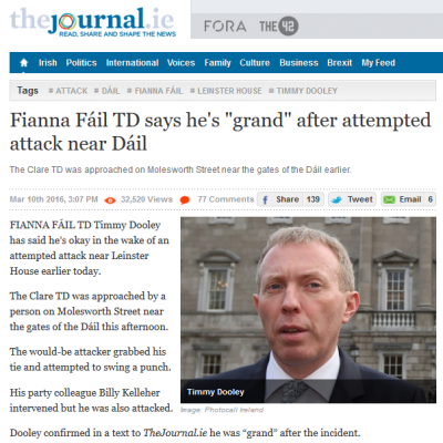 "The Journal screengrab: ""Fianna Fáil TD says he's 'grand' after attempted attack near Dáil."""