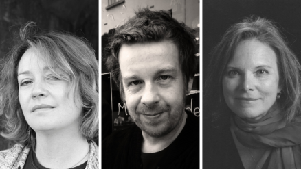 Promotional image for Cúirt literary festival, showing three black and white photos of authors' faces. On the left is Eimear McBride, in the centre is Kevin Barry, and on the right Carolyn Forché.