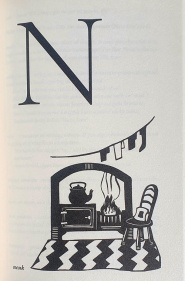 Illustration of 'N' by Liz Myhill. In the top left quarter is a large serif N. In the bottom let corner is a small word 'neuk'. Beside it, filling the bottom half of the page, is an illustration of a hearth: a fire burns in the grate, with a kettle on a stove beside it. Clothes hang on a line above it, and there is a zigzag stripey rug in front of it, with a wooden chair and cushion on the rug, to the right of the fireplace.