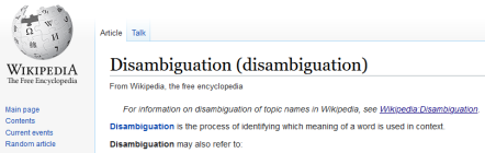 Image of Wikipedia page on Disambiguation, showing that it too must be disambiguated.